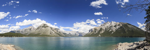 Lake Minnewanka. Panoramic view of lake Minnewanka in canada Royalty Free Stock Photos