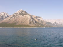 Lake Minnewanka in the Rocky Mountains in Canada Stock Image