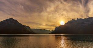 Lake Minnewanka at Sunrise Royalty Free Stock Images