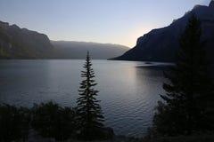 Lake Minnewanka at Sunrise Stock Photography