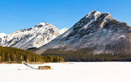 Lake Minnewanka in winter Stock Photo