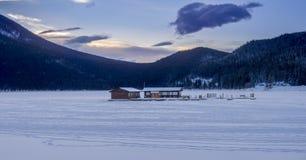 Lake Minnewanka in Winter. Near Banff Alberta Canada Stock Photos