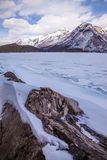 Lake Minnewanka in the winter near Banff, Alberta royalty free stock photos