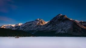 Lake Minnewanka. Winter Scenery Lake Minnewanka in Banff National Park Alberta Canada Stock Images