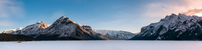 Lake Minnewanka. Winter Scenery Lake Minnewanka in Banff National Park Alberta Canada Royalty Free Stock Photo