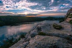 Summer Sunset On Lake Minnewaska stock photo
