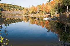 Lake mirror image in fall. Mirror image in the lake in fall Stock Images