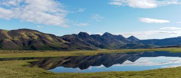 Lake with mirrored mountains Iceland Panorama stock photo