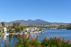 Lake Mission Viejo in Orange County. MISSION VIEJO, CA - JANUARY 23, 2018: Lake Mission Viejo sign. 5 miles south of Santiago Peak in the Santa Ana Mountains Stock Images