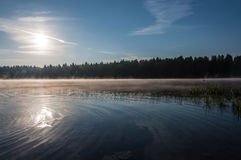 Lake mist dawn sunrise Stock Photography