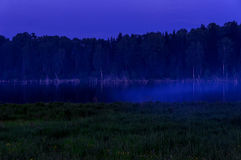 Lake mist night exposure Royalty Free Stock Photography