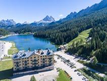Lake of Misurina, aerial view of Dolomites Stock Photos