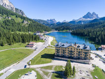 Lake of Misurina, aerial view of Dolomites Stock Image