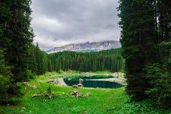 Lake Misurina in the Alps Stock Image
