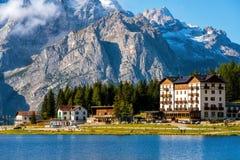 Lake Misurina with Dolomites Mountain in Italy stock photo