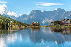Lake Misurina, Dolomites, Province of Bolzano-Bozen, Italy. Hotel Miralago on Lake Misurina, Dolomites, Province of Bolzano-Bozen, Italy royalty free stock photos