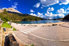Lake Misurina in Dolomiti Alps panoramic view Stock Photography