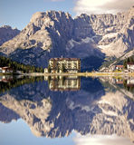 Lake Misurina with Hotel. Lake Misurina is the greater natural lake of the Cadore and it is 1,754 m above sea level, fraction of Auronzo di Cadore (Belluno). The Royalty Free Stock Photography
