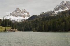Lake misurina, hotel and dolomites, Italy Stock Images