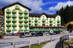 MISURINA, ITALY, 14 OCTOBER, 2018: The elegant Grand Hotel Misurina - Blu Hotels on the lake shore in a beautiful autumn day. Lake Misurina or Lago di Misurina stock photos