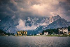 Lake Misurina, picturesque afternoon scene in the Tre Cime Di La. Varedo Natural Park, Dolomite Alps, Italy, Europe Stock Images