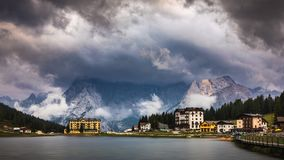 Lake Misurina, picturesque afternoon scene in the Tre Cime Di La. Varedo Natural Park, Dolomite Alps, Italy, Europe royalty free stock images