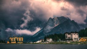 Lake Misurina, picturesque afternoon scene in the Tre Cime Di La Royalty Free Stock Photo
