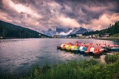 Lake Misurina, picturesque afternoon scene in the Tre Cime Di La. Varedo Natural Park, Dolomite Alps, Italy, Europe Stock Photography