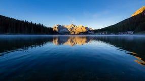 Lake Misurina at sunrise, Dolomite Mountains, Italy royalty free stock photo