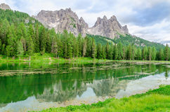 Lake Misurina in Sexten Dolomites, Italy. Lake Misurina a.k.a lago di Santa Caterina and Auronzo di Cadore, Province of Belluno, Veneto, Sexten Dolomites, South Royalty Free Stock Photography