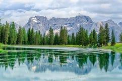 Lake Misurina in Sexten Dolomites, Tyrol, Italy Stock Photo