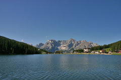 Lake Misurina with Sorapis in the background. Lake Misurina in summer morning with Sorapis Group, Dolomites, Italian Alps Royalty Free Stock Images