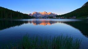 Lake Misurina at sunrise, Dolomites, Italy stock video