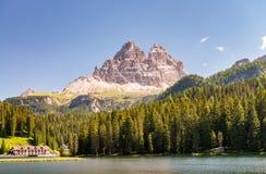 Lake of Misurina with Three Peaks of Lavaredo, Dolomites Stock Images