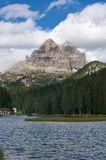 Lake Misurina and Tre Cime di Lavaredo Stock Photography