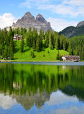 Lake Misurina and Tre Cime di Lavaredo Royalty Free Stock Image