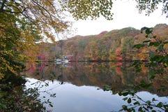 Lake Mohegan Fairfield CT Fall Stock Photo