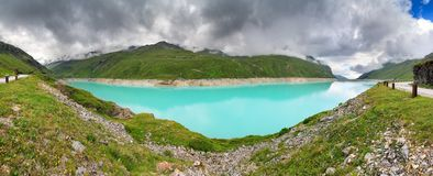 Lake Moiry panorama Royalty Free Stock Images