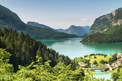 Lake Molveno, elected most beautiful lake in Italy. Stock Photos