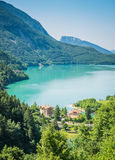 Lake Molveno, elected most beautiful lake in Italy. Royalty Free Stock Photography