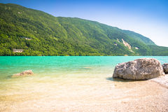 Lake Molveno, elected most beautiful lake in Italy. Stock Images