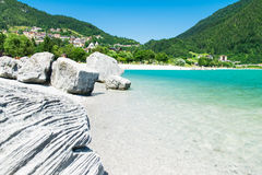 Lake Molveno, elected most beautiful lake in Italy. Royalty Free Stock Image