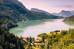 Lake Molveno, elected most beautiful lake in Italy. Royalty Free Stock Photos