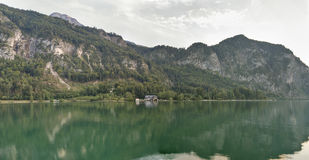 Lake Mondsee in Austrian Alps panorama Royalty Free Stock Image