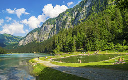 Lake of Montriond, natural lake in Haute -Savoie region,French Alps royalty free stock images