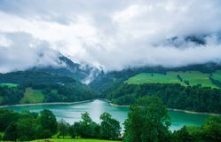 Lake Montsalvens at Prealps in Gruyere district Canton Fribourg Switzerland Royalty Free Stock Images