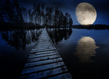 Lake and moon Royalty Free Stock Images