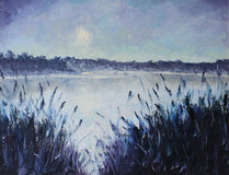Lake in the moonlight. Original oil painting lake in the moonlight on canvas. Impasto artwork. Impressionism art Stock Image