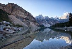 Lake Moraine Canada. Mountain reflection on the lake,Lake Moraine in Banff National Park, Alberta, Canada Stock Image