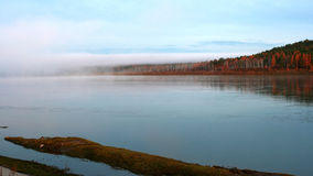 Lake with morning fog. Morning fog in Heilongjiang, the northernmost place in China Stock Photos